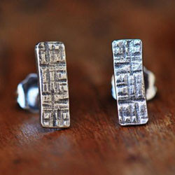 Crosshatched rectangle sterling silver s