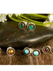 Itty bitty turquoise dot post earrings.j