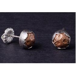 Little copper nugget silver button stud