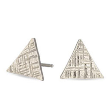 Sterling silver hammered triangle studs