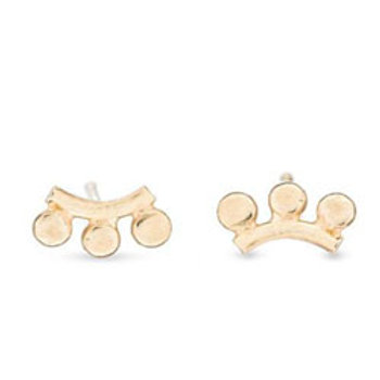 14k yellow gold sunrise stud earrings // 3 rays