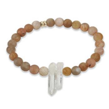 InGauge bracelet - sunstone & clear quartz, 6mm