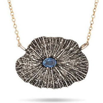 Mushroom coral & blue sapphire sterling silver necklace