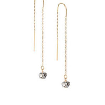 Herkimer diamond gold filled threader earrings