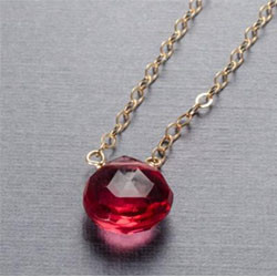 Dark pink quartz gold filled necklace.jp