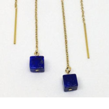 Lapis cube 14k gold filled threader earrings