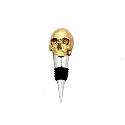 Gold Skull Wine Bottle Stopper