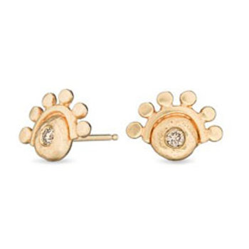14K Gold & Diamond Oriana stud earring golden dawn