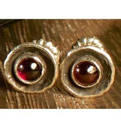 Garnet birthstone silver stud earrings.j