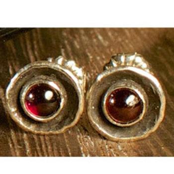 Garnet birthstone silver stud earrings