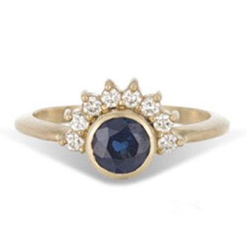 Arunika- 14K yellow gold, blue sapphire and diamond halo engagement ring