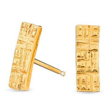 18K gold vermeil crosshatched rectangle sterling silver stud earrings