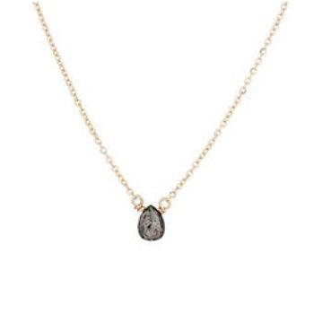 14k gold black diamond drop dainty necklace // birthstone necklace // bridesmaid