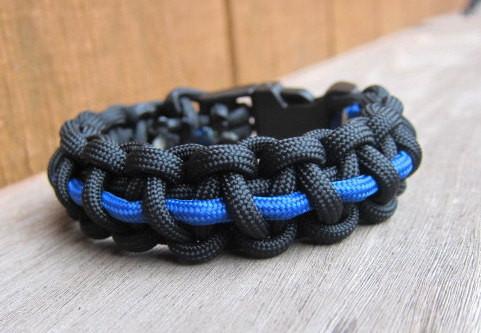 Paracord Bracelet Thin Blue Line Law Enforcement Available In 5 Sizes