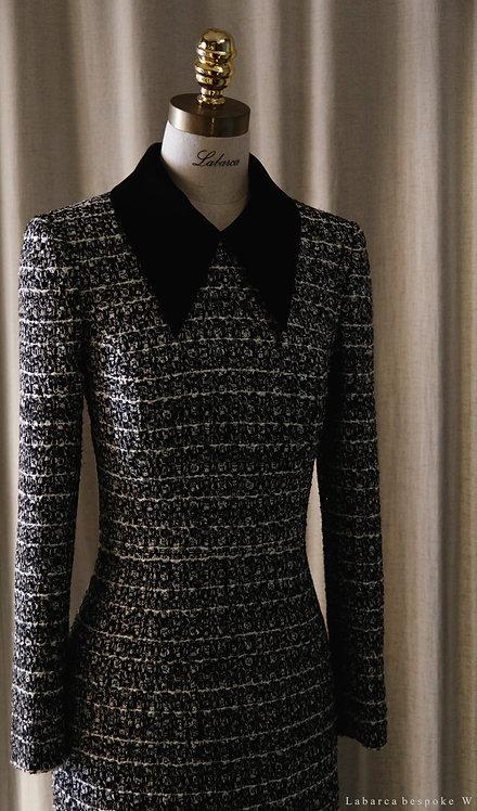 트위드 칼라 드레스