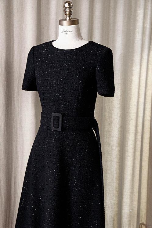 블랙 트위드 롱 드레스
