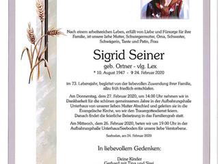 Gedenken Sigrid Seiner