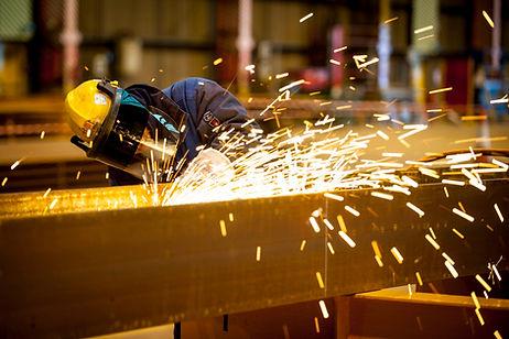 Steel beams grinding