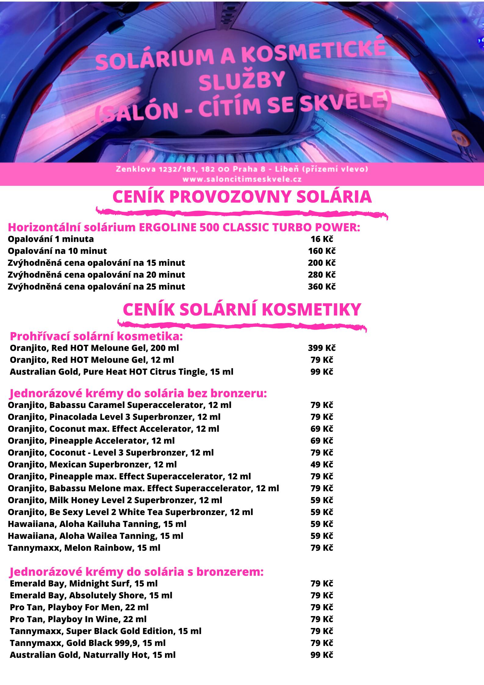 CENÍK provozovny Solária č.3-I