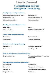 In deze handout tig voorbeeldzinnen voor alle tekstblokken van je managementsamenvatting of memo.