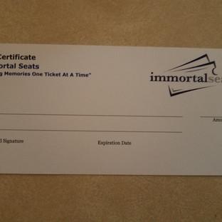Immortal Seats Gift Certifiacate