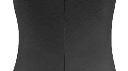BLACK Sleeveless Ruched Leotard