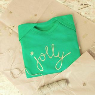 'Jolly' Green & Gold Baby Romper