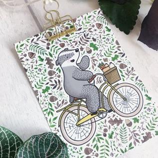 A6 Cycling Badger Postcard Print