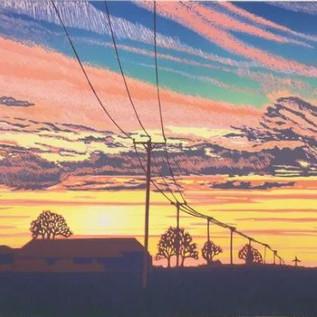 'Sunset Over The Fens' Linocut