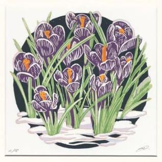 'Spring Crocus' Linocut