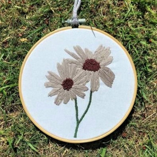 Coloured Daisy Embroidered Hoop