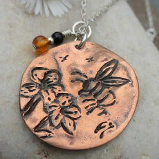 Copper Bee & Flowers Necklace