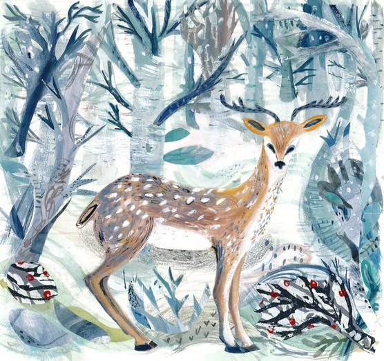 emma-malfroy-art-winter-deer-mixed