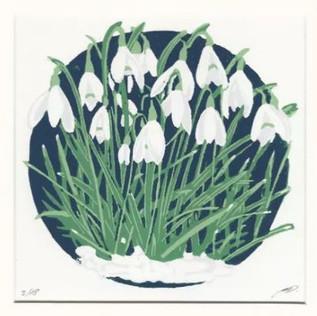 'Dainty Snowdrops' Linocut