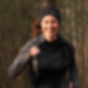 A woman trail running