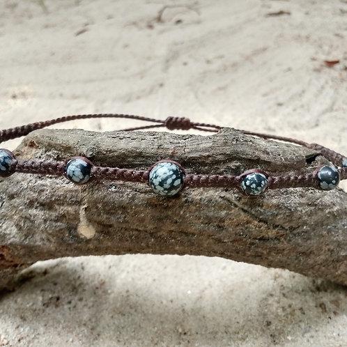 Bracelet de cheville obsidienne mouchetée