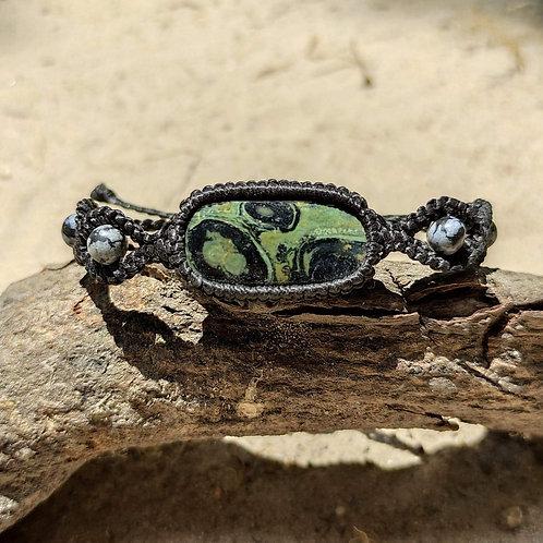 Bracelet Ankh jaspe kabamba et obsidienne