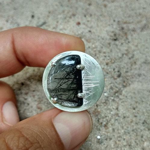 Plug d'oreille quartz à aiguilles de tourmaline