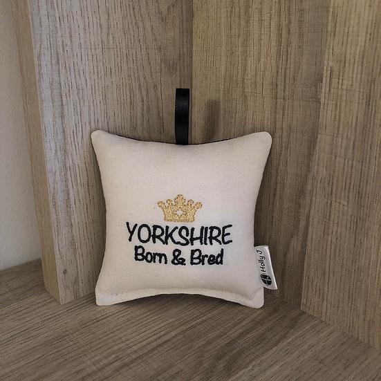 'Yorkshire Born & Bred' Mini Hanging Cushion