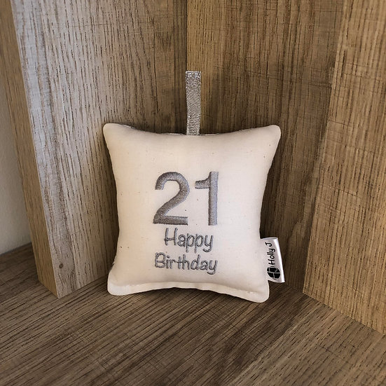 '21 Happy Birthday' Mini Hanging Cushion