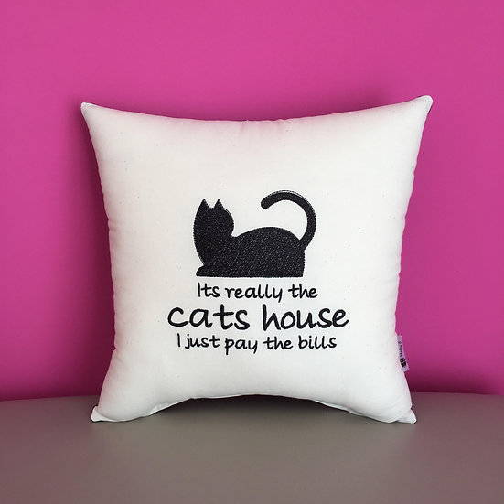 'Its really the cats house I just pay the bills' Cushion
