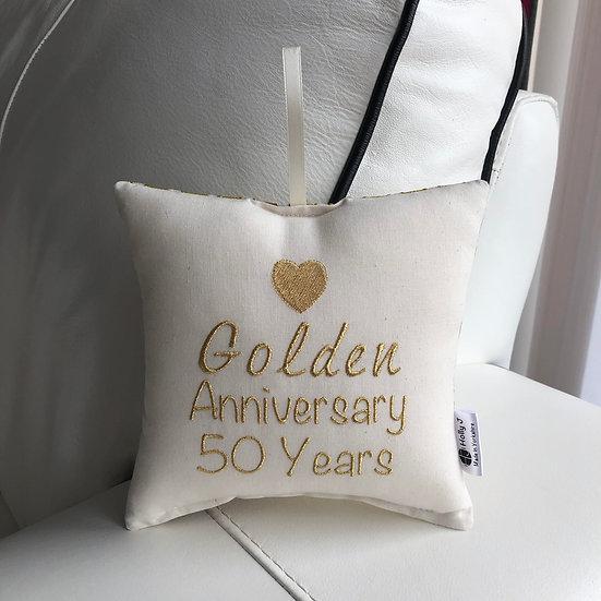 'Golden Anniversary 50 Years' Hanging Cushion