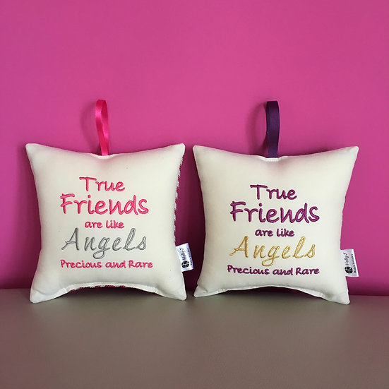 'True Friends are like Angels Precious and Rare' Hanging Cushion