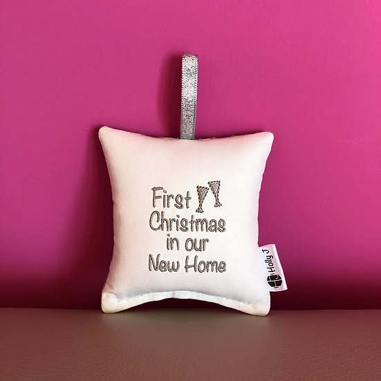 'First Christmas in our New Home' Mini Hanging Cushion