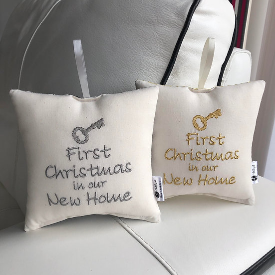 'First Christmas in our New Home' Hanging Cushion
