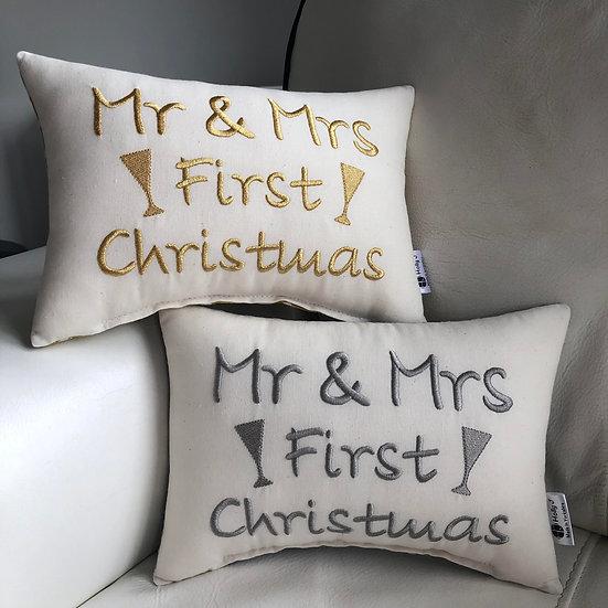 'Mr & Mrs First Christmas' Mini Bolster