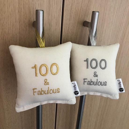 '100 & Fabulous' Mini Hanging Cushion