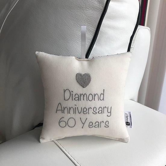 'Diamond Anniversary 60 Years' Hanging Cushion