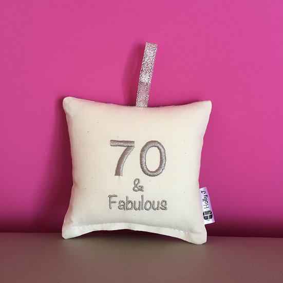'70 & Fabulous' Mini Hanging Cushion
