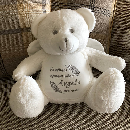 'Feathers appear when Angels are near' Angel Teddy Bear